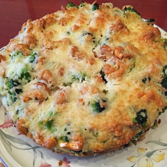 Hartige taart broccoli spinazie en noten